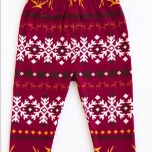 NWT Kids Reindeer Fair Isle Leggings